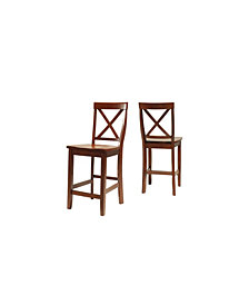 "X-Back Bar Stool With 24"" Seat Height (Set Of 2)"