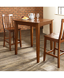 3 Piece Pub Dining Set With Tapered Leg And School House Stools