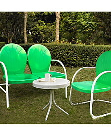 Griffith 3 Piece Metal Outdoor Conversation Seating Set - Loveseat And Chair With Side Table