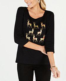 Karen Scott Petite Reindeer Top, Created for Macy's