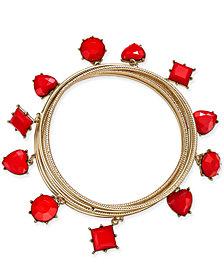 Thalia Sodi Gold-Tone 6-Pc. Set Heart Stone Bangle Bracelets, Created for Macy's