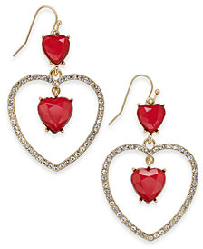 "Thalia Sodi Large Gold-Tone Red Heart Drop Earrings, 2"", Created for Macy's"