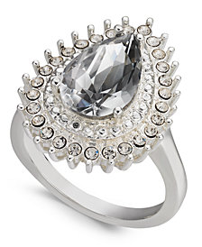 Charter Club Silver-Tone Crystal Teardrop Ring, Created for Macy's
