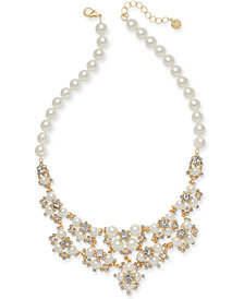 "Charter Club Gold-Tone Crystal & Imitation Pearl Statement Necklace, 42"" + 2"" extender, Created for Macy's"