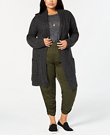 Style & Co Plus Size Tweed Sweater Coat, Created for Macy's