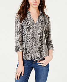 I.N.C. Petite Printed Ruched Blouse, Created for Macy's