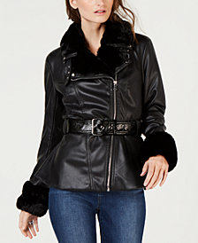 I.N.C. Petite Faux-Shearling & Faux-Leather Aviator Jacket, Created for Macy's