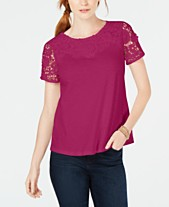 44ad4d224912d Charter Club Cotton Crochet Short-Sleeve T-Shirt