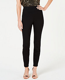 I.N.C. Faux-Leather-Stripe Skinny Pants, Created for Macy's