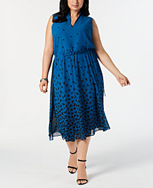 Anne Klein Plus Size Drawstring-Waist Dress