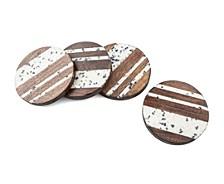 Set of 4 White Terrazzo and Wood Coasters