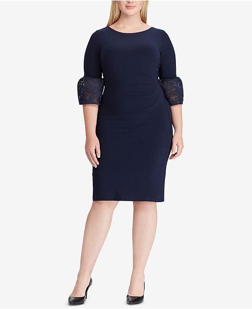 Lauren Ralph Lauren Plus Size Taffeta-Jersey Dress & Reviews