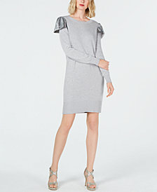 MICHAEL Michael Kors Sequined-Ruffle Sweater Dress