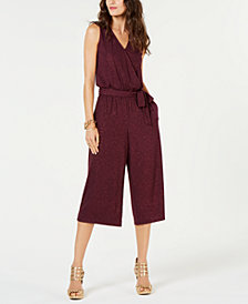 MICHAEL Michael Kors Glitter Wrap Cropped Jumpsuit, In Regular & Petite Sizes