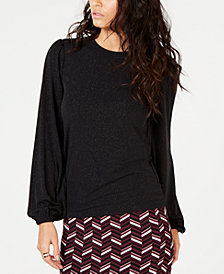MICHAEL Michael Kors Metallic Puff-Sleeve Top, In Regular & Petite Sizes