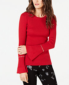 MICHAEL Michael Kors Rhinestone Ribbed Sweater