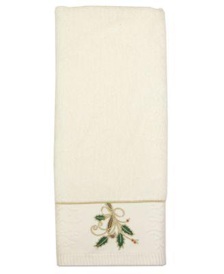 "Bath Towels, Ribbon and Holly 16"" x 28"" Hand Towel"