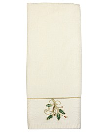"CLOSEOUT! Lenox Bath Towels, Ribbon and Holly 16"" x 28"" Hand Towel"