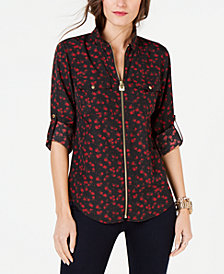 MICHAEL Michael Kors Printed Zip-Front Collared Shirt, Regular & Petite