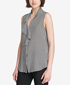 DKNY Ruffled Houndstooth-Print Top, Created for Macy's