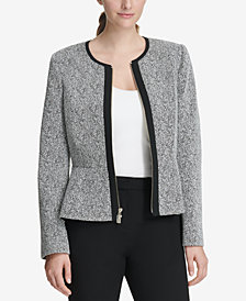 DKNY Zip-Front Knit Peplum Jacket, Created for Macy's