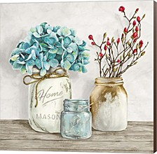 Floral Composition With Mason Jars I By Jenny Thomlinson Canvas Art
