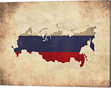 Map with Flag Overlay Russia by Color Me Happy Canvas Art