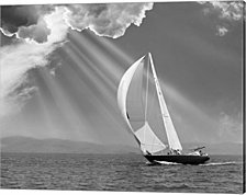 Sailing under sunbeams, L'Anse Bay, Michigan '13 by Monte Nagler Canvas Art