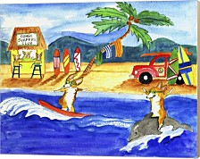 Corgi Surfers Club By Cheryl Bartley Canvas Art