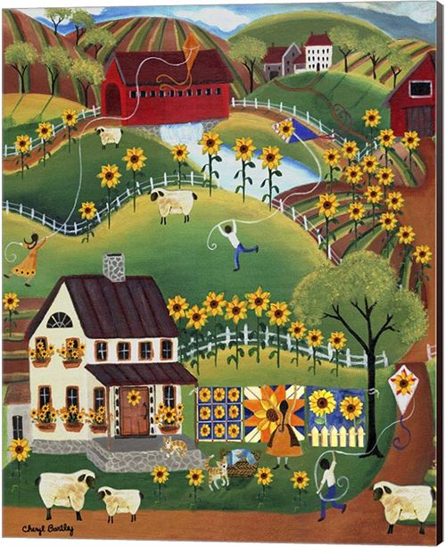 Metaverse Primitive Quilt Maker House Sunflower Sheep By Cheryl Bartley Canvas Art