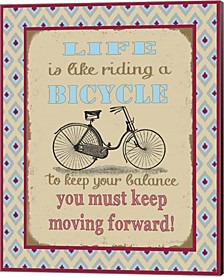 Life Bicycle Message 1 By Jean Plout Canvas Art