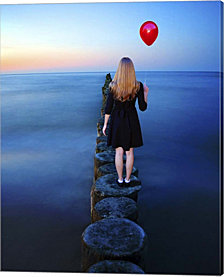 A Girl And Red Balloon by Ata Alishahi Canvas Art