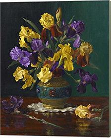 Iris in Cloisonne Vase by Christopher Pierce Canvas Art