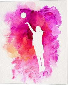 Basketball Girl Watercolor Silhouette Inverted Part Iv By Sports Mania Canvas Art