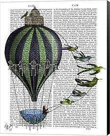 Hot Air Balloon and Birds by Fab Funky Canvas Art