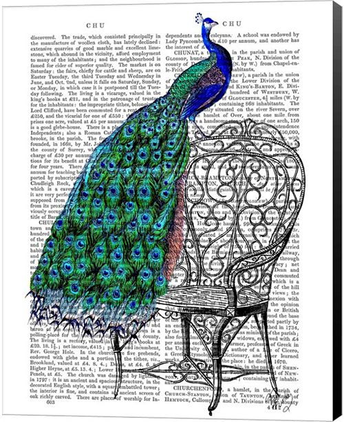 Metaverse Peacock On Chair By Fab Funky Canvas Art