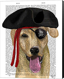 Yellow Labrador Pirate By Fab Funky Canvas Art