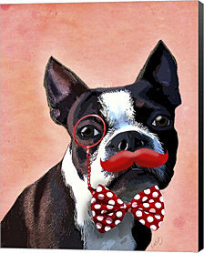 Boston Terrier Portrait With Red Bow Tie And Moustache By Fab Funky Canvas Art