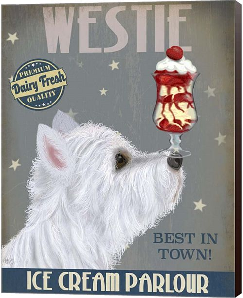 Metaverse Westie Ice Cream By Fab Funky Canvas Art