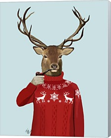 Deer In Ski Sweater By Fab Funky Canvas Art