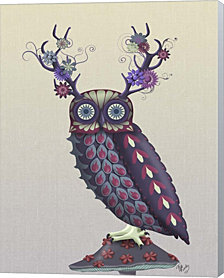 Owl with Psychedelic Antlers by Fab Funky Canvas Art