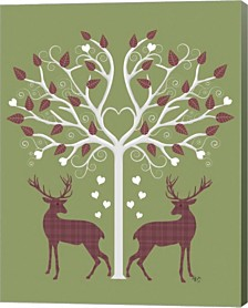 Christmas Des - Deer And Heart Tree, Pink On Green By Fab Funky Canvas Art