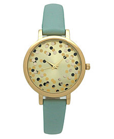 Olivia Pratt Women's Confetti Thin Leather Strap Watch