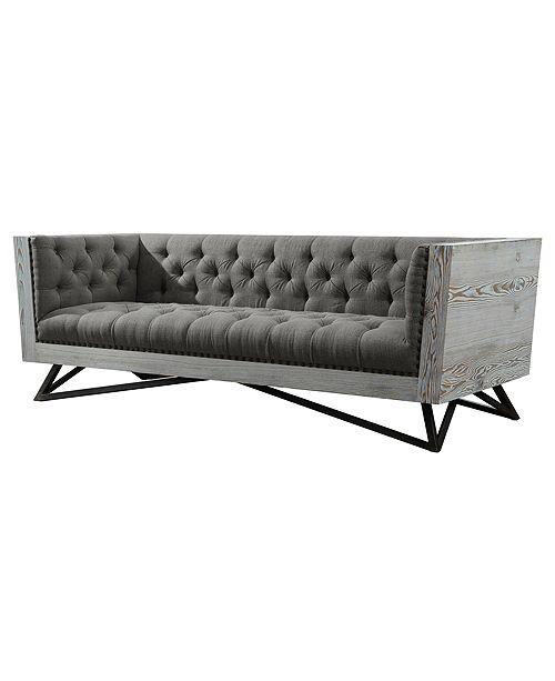 Armen Living Regis Contemporary Sofa In Grey Fabric With ...