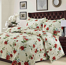 Lyon Microfiber Floral Printed Oversized Quilt Set Collection