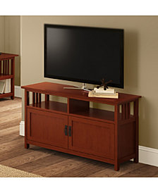 Mission TV Stand with Wood Doors, Cherry