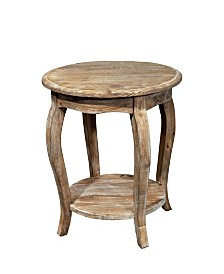 Alaterre Furniture Rustic - Reclaimed Round End Table, Driftwood