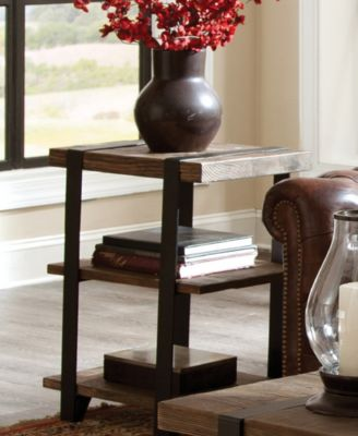 ... Bolton Furniture Modesto 2 Shelf Metal Strap And Reclaimed Wood End  Table ...