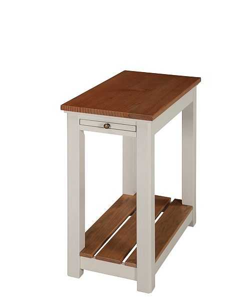 Alaterre Furniture Savannah Chairside End Table With Pull Out