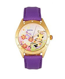 Quartz Ericka Collection Purple Leather Watch 38Mm